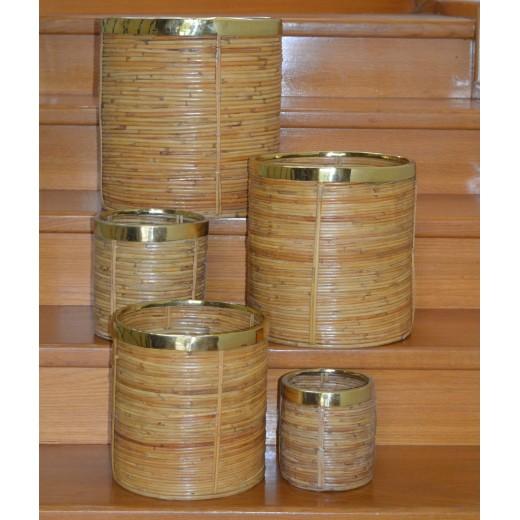 Καλάθι μπαμπού με μπρούτζο [Διαθέσιμο σε 5 μεγέθη]