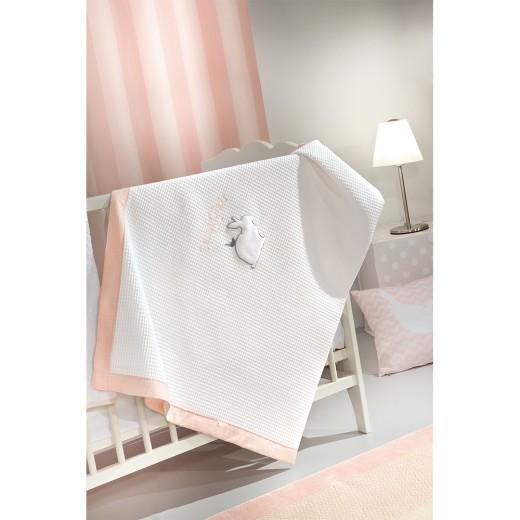 Κουβέρτα Lapin Pink Πικέ κούνιας 110X150 by Saint Clair