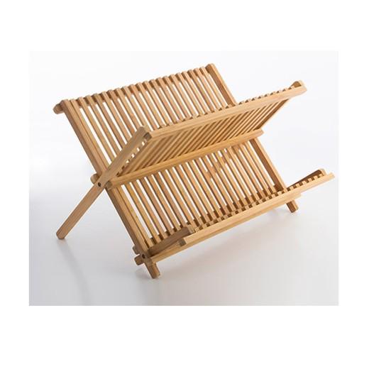 Πιατοθήκη ξύλινη (μασίφ) χρώμα οξιάς 51x28x25 εκ.