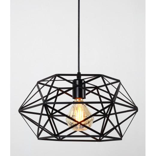 Φωτιστικό οροφής ενός λαμπτήρα μαύρο πολύγωνο - 40cm  x 40cm  x 32cm
