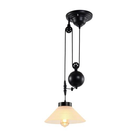Φωτιστικό οροφής ενός λαμπτήρα με βαρίδια και γυάλινο καπέλο - 25cm  x 31cm  x 135cm